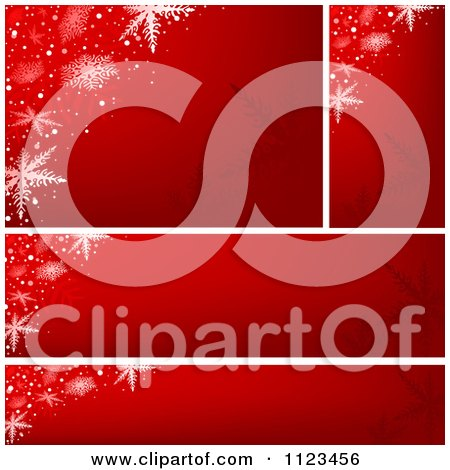 Clipart Of Red Snowflake Christmas Banners - Royalty Free Vector Illustration by dero