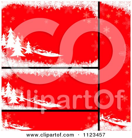 Clipart Of Red Evergreen Christmas Banners - Royalty Free Vector Illustration by dero