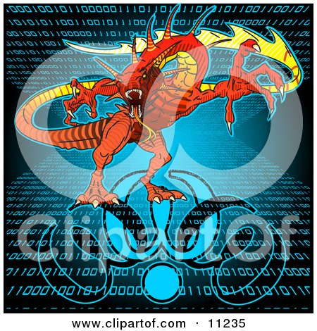 WWW Floating in Cyberspace With Binary Code Background Clipart Illustration by Leo Blanchette