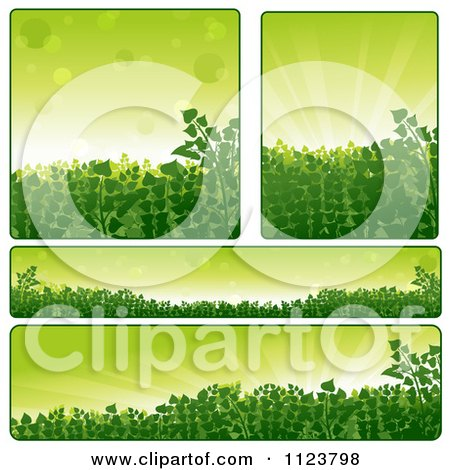 Clipart Of Green Plant Nature Website Banners - Royalty Free Vector Illustration by dero