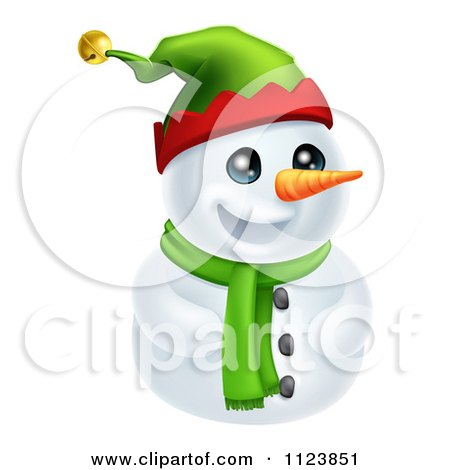 Clipart Of A Cute Snowman In A Scarf And Elf Hat - Royalty Free Vector Illustration by AtStockIllustration