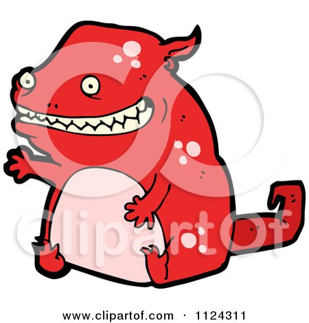 Fantasy Cartoon Of A Red Monster Or Alien - Royalty Free Vector Clipart by lineartestpilot