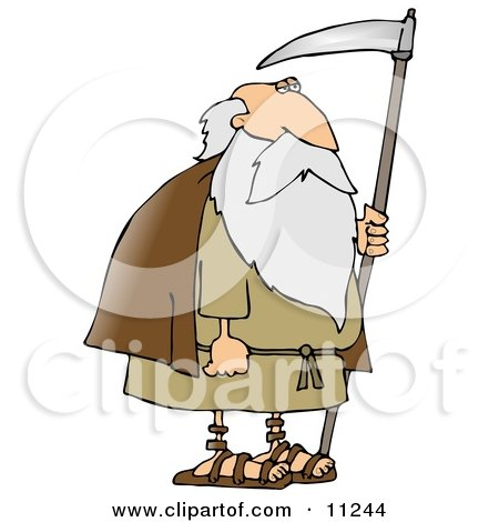 Old Bearded Man, Father Time, Holding a Scythe Posters, Art Prints