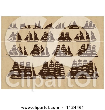 Clipart Of Silhoeutted Ships On Wood - Royalty Free Vector Illustration by Eugene