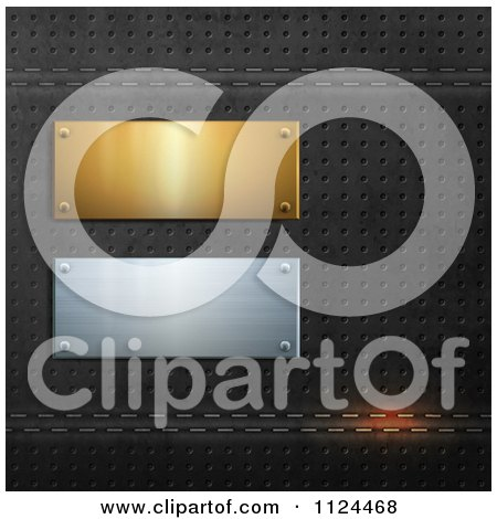 Clipart Of 3d Gold And Silver Plaques On Perforated Black Leather - Royalty Free Vector Illustration by Eugene