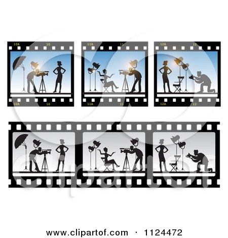 Clipart Of Film Frames Of A Model And Photographer - Royalty Free Vector Illustration by Eugene
