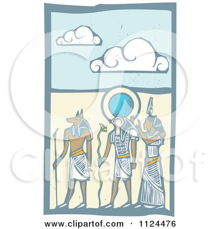 Clipart Of Woodcut Anubis Gods And Desert - Royalty Free Vector Illustration by xunantunich
