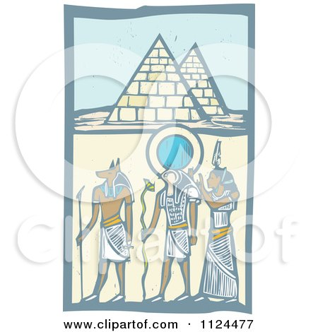 Clipart Of Woodcut Anubis Gods And Egyptian Pyramids - Royalty Free Vector Illustration by xunantunich