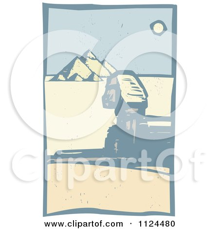 Clipart Of A Woodcut Sphinx And Egyptian Pyramids - Royalty Free Vector Illustration by xunantunich