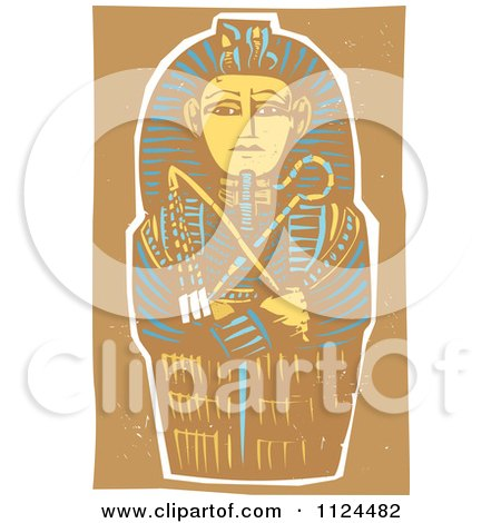 Clipart Of A Woodcut Egyptian Coffinette Of King Tutankhamen - Royalty Free Vector Illustration by xunantunich