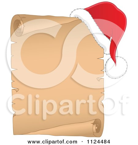 Cartoon Of A Christmas Santa Hat On The Corner Of A Parchment Page - Royalty Free Vector Clipart by visekart