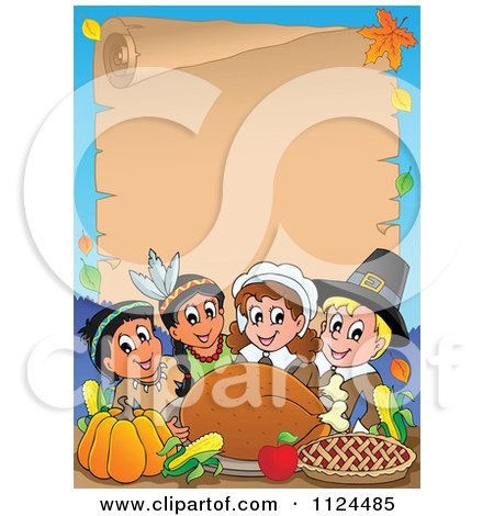 Cartoon Of Happy Pilgrims And Indians Sharing A Thanksgiving Feast And Parchment Page - Royalty Free Vector Clipart by visekart