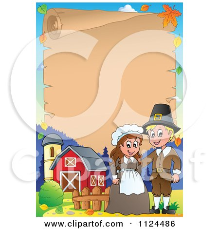Cartoon Of A Thanksgiving Pilgrim Couple On A Farm With A Parchment Page - Royalty Free Vector Clipart by visekart