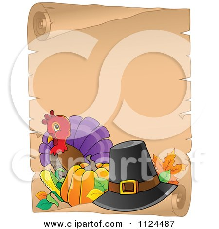Cartoon Of A Cute Thanksgiving Turkey Bird And Parchment Page - Royalty Free Vector Clipart by visekart