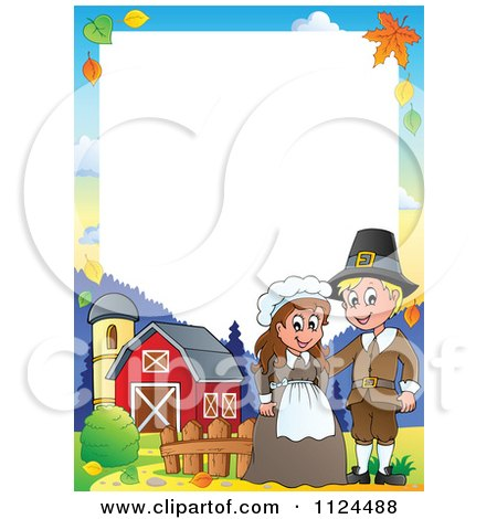 Cartoon Of A Thanksgiving Pilgrim Couple On A Farm Border - Royalty Free Vector Clipart by visekart