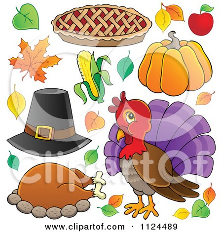 Cartoon Of Thanksgiving Items - Royalty Free Vector Clipart by visekart