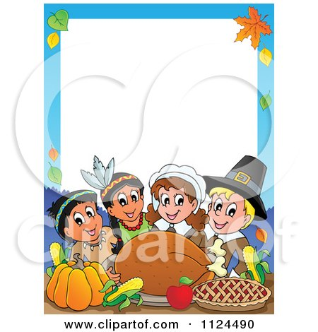 Cartoon Of Happy Pilgrims And Indians Sharing A Thanksgiving Feast Border - Royalty Free Vector Clipart by visekart