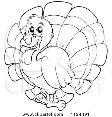 Cartoon of an outlined cute turkey bird royalty free for Cute turkey coloring pages