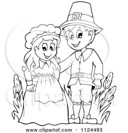 Cartoon Of An Outlined Thanksgiving Pilgrim Couple - Royalty Free Vector Clipart by visekart