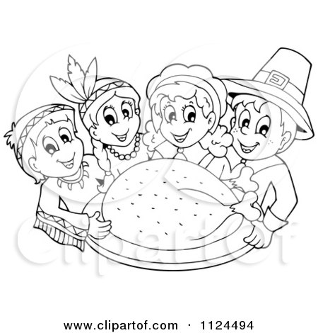 Cartoon Of An Outlined Thanksgiving Turkey With Pilgrims And Indians - Royalty Free Vector Clipart by visekart
