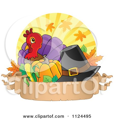 Cartoon Of A Cute Thanksgiving Turkey Bird With A Pilgrim Hat Over Rays With A Banner - Royalty Free Vector Clipart by visekart