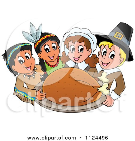 Happy Pilgrims And Indians Holding A Thanksgiving Roasted Turkey Posters, Art Prints