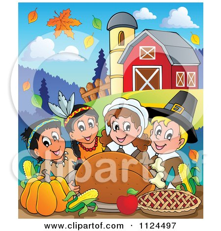 Cartoon Of Happy Pilgrims And Indians Having A Feast On A Farm - Royalty Free Vector Clipart by visekart