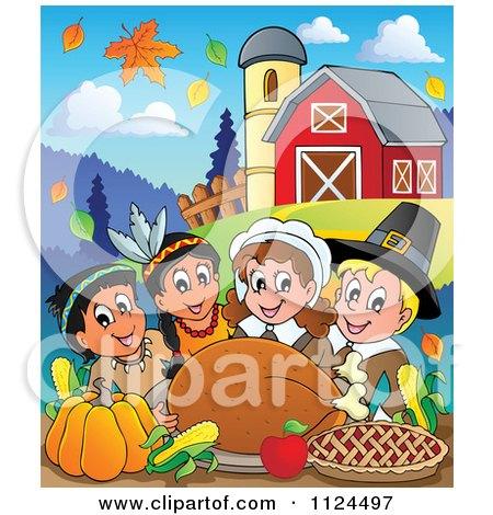 Pilgrims Feast Cartoon of happy pilgrims and