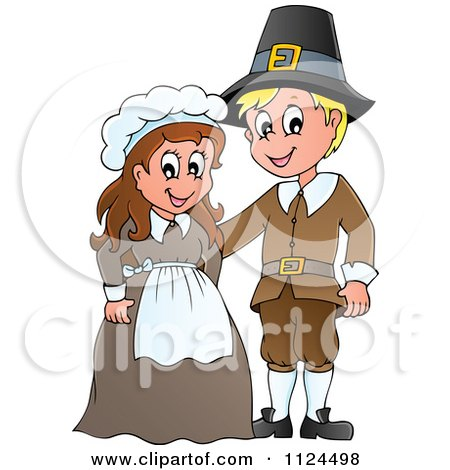 Cartoon Of A Thanksgiving Pilgrim Couple - Royalty Free Vector Clipart by visekart
