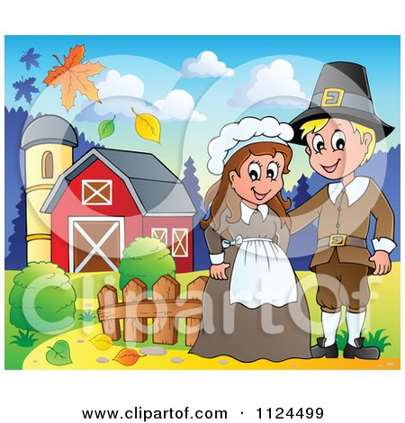 Cartoon Of A Thanksgiving Pilgrim Couple On A Farm - Royalty Free Vector Clipart by visekart