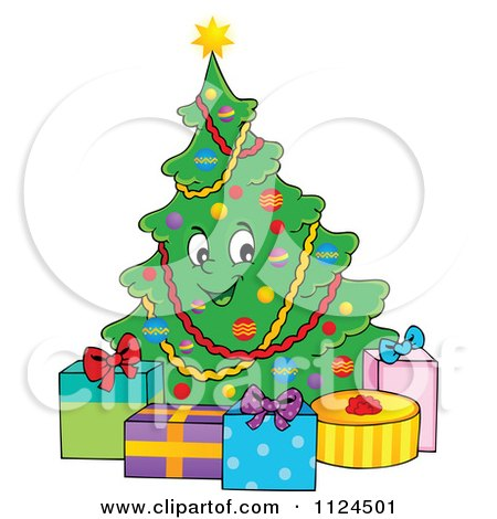 Cartoon Of A Happy Christmas Tree With Gifts - Royalty Free Vector Clipart by visekart