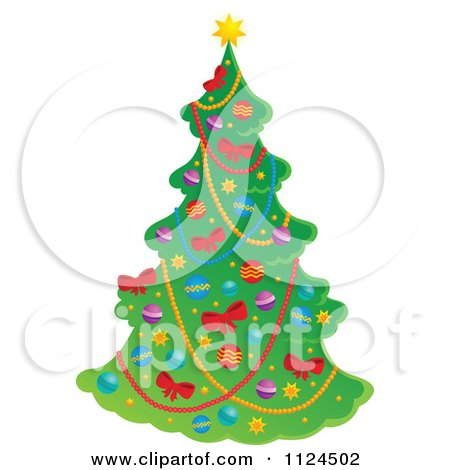 Cartoon Of A Decorated Christmas Tree - Royalty Free Vector Clipart by visekart
