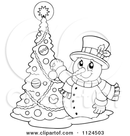 Christmas Snowman In A Top Hat And Scarf 1127773 on decorating with christmas ribbon tree