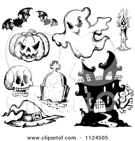 Clipart Of Sketched Black And White Halloween Items 1 - Royalty Free Vector Illustration by visekart