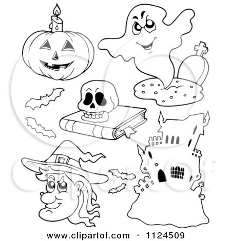 Cartoon Of Outlined Halloween Items 3 - Royalty Free Vector Clipart by visekart