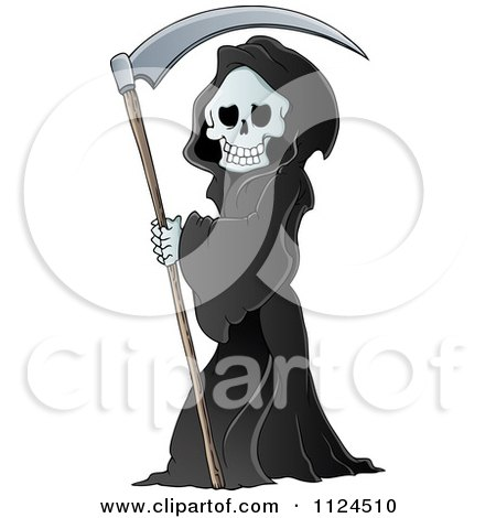 Cartoon Of A Watching Hooded Grim Reaper With A Scythe - Royalty Free Vector Clipart by visekart
