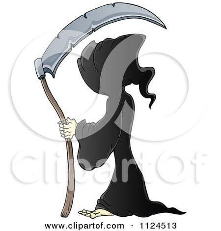 Cartoon Of A Hooded Grim Reaper With A Scythe - Royalty Free Vector Clipart by visekart