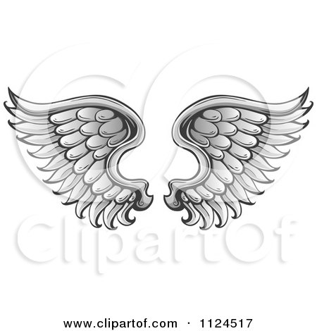 Clipart Of A Pair Of Angel Wings 1 Royalty Free Vector Illustration
