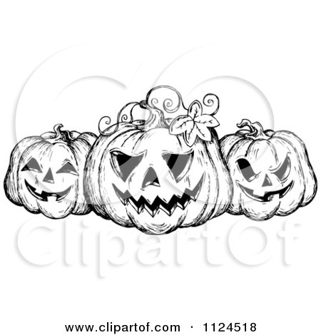 Clipart Of A Sketched Black And White Trio Of Grinning Halloween Jackolanter Pumpkins - Royalty Free Vector Illustration by visekart