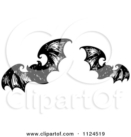 Clipart Of Sketched Black And White Flying Halloween Bats 1 - Royalty Free Vector Illustration by visekart