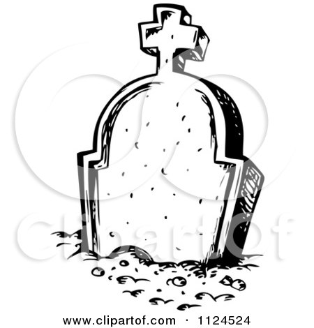 Clipart Of A Sketched Black And White Cemetery Tombstone Royalty