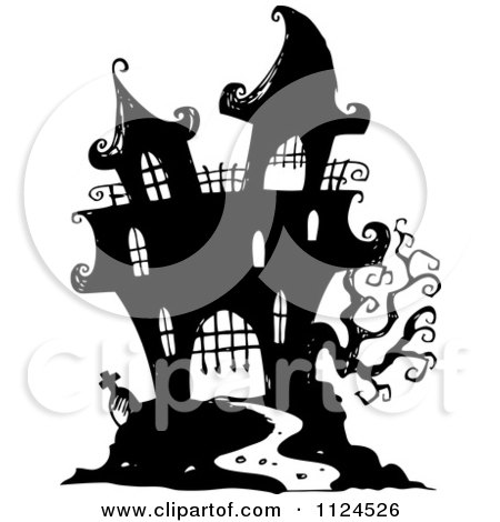 Clipart Of A Sketched Black And White Haunted Halloween Mansion - Royalty Free Vector Illustration by visekart