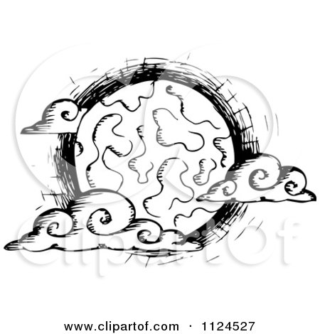 Clipart Of A Sketched Black And White Creepy Full Moon With Clouds - Royalty Free Vector Illustration by visekart
