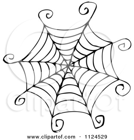Clipart Of A Sketched Black And White Spider Web - Royalty Free Vector Illustration by visekart