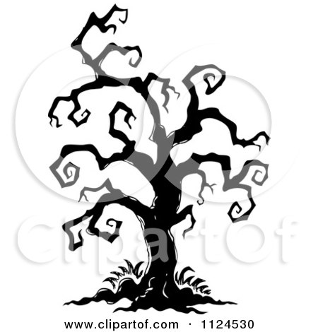 Clipart Of A Sketched Black And White Creepy Bare Halloween Tree - Royalty Free Vector Illustration by visekart