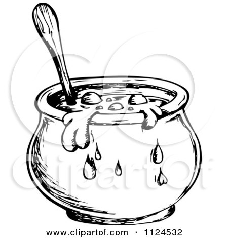 Clipart Of A Sketched Black And White Boiling Witch