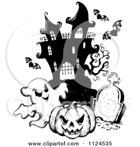 Clipart Of A Sketched Black And White Haunted House With A Cemetery Bats Halloween Pumpkin And Ghost - Royalty Free Vector Illustration by visekart