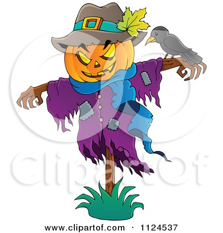 Cartoon Of A Jackolantern Halloween Scarecrow And Bird - Royalty Free Vector Clipart by visekart