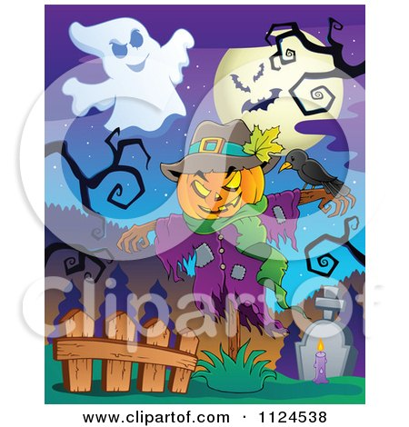 Cartoon Of A Jackolantern Halloween Scarecrow And Ghost In A Cemetery - Royalty Free Vector Clipart by visekart