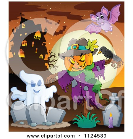 Cartoon Of A Ghost And Jackolantern Halloween Scarecrow In A Cemetery Near A Haunted House - Royalty Free Vector Clipart by visekart